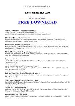 DECA SA STANICE ZOO Free PDF