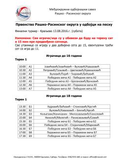 Raspored KV FINALNI