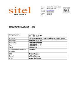 SITEL DOO BELGRADE – Info