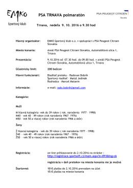 Registrácia - VOS-TPK - prihlasovanie na preteky