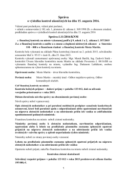 6. Informatívna správa o výsledkoch kontrol