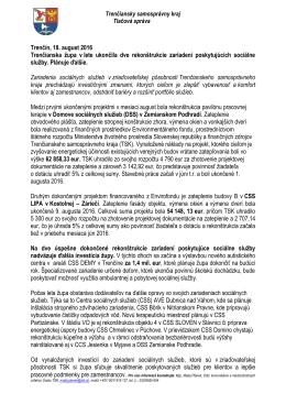 Trenčín, 18. august 2016 Trenčianska župa v lete ukončila dve