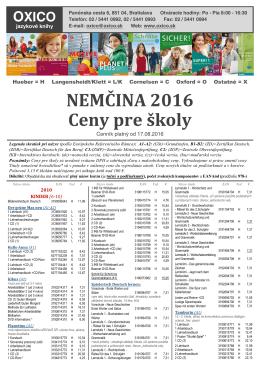 NEMČINA 2016 Ceny pre školy
