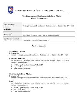 19. Voľba prísediacich Okresného súdu v Martine na volebné