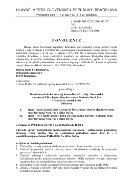 hlavné mesto slovenskej republiky bratislava povolenie