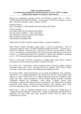 Zápis zo zasadnutia komisie na vyhodnotenie predložených