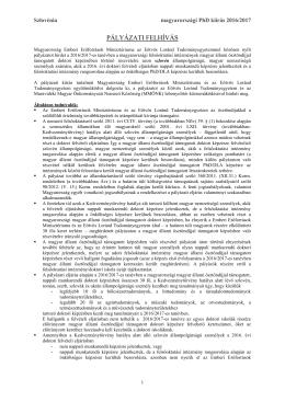 Magyar állami ösztöndíjjal támogatott doktori képzésében történő
