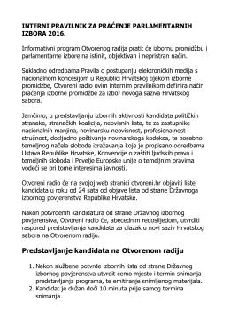 Pravila Informativnog programa za praćenje