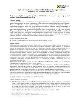 Opšti uslovi poslovanja Raiffeisen BANK dd Bosna i Hercegovina