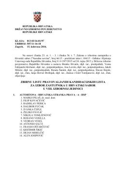zbirnu listu pravovaljanih kandidacijskih lista za izbor zastupnika u