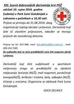 XXI. Susret dobrovoljnih darivatelja krvi PGŽ održati 10. rujna 2016