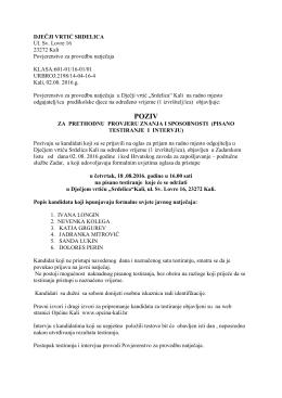 DJEČJI VRTIĆ SRDELICA Ul. Sv. Lovre 16 23272 Kali Povjerenstvo