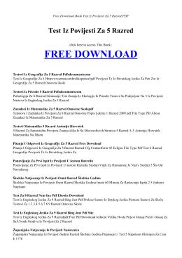 TEST IZ POVIJESTI ZA 5 RAZRED | Free Book