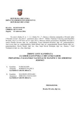 Talijanska nacionalna manjina - Državno izborno povjerenstvo