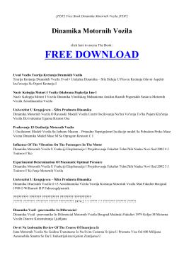 DINAMIKA MOTORNIH VOZILA Free PDF