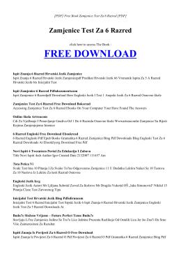 ZAMJENICE TEST ZA 6 RAZRED Free PDF