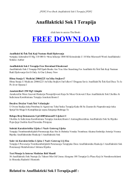 ANAFILAKTICKI SOK I TERAPIJA Free PDF