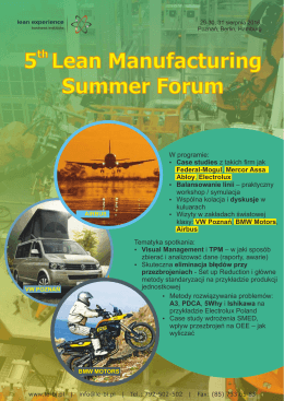 5 Lean Manufacturing Summer Forum - Lean Experience Business Institute