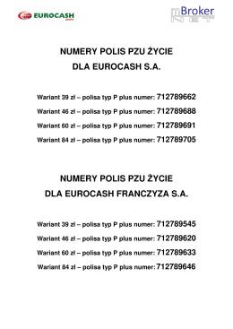 numery polis pzu życie dla eurocash sa numery