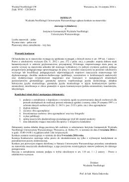 Wydział Neofilologii UW Warszawa, dn. 16 sierpnia 2016 r. Znak: WNf