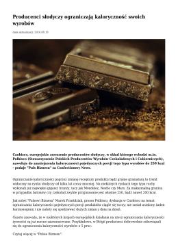 Producenci słodyczy ograniczają kaloryczność swoich wyrobów