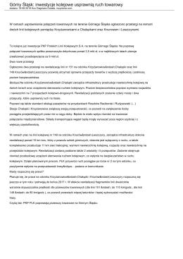 Górny Śląsk: inwestycje kolejowe usprawnią ruch