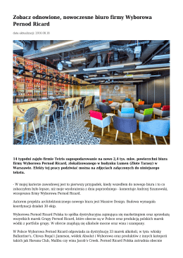 Zobacz odnowione, nowoczesne biuro firmy Wyborowa Pernod Ricard