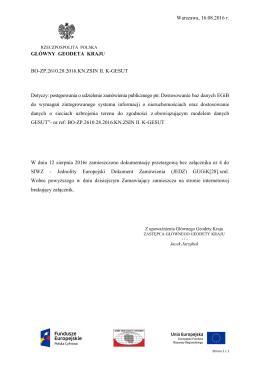 Dodany Załącznik nr 4 do SIWZ z dnia 16.08.2016