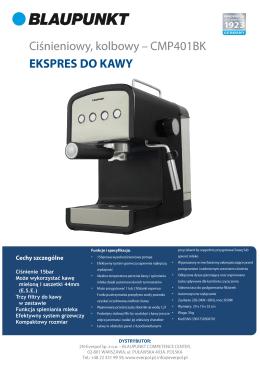 Ciśnienie 15bar Może wykorzystać kawę mieloną i saszetki 44mm
