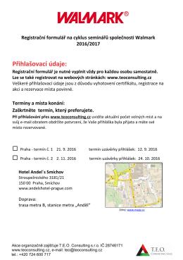 Registrační formulář a semináře společnosti