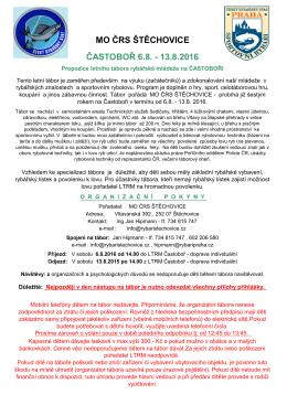 MO ČRS ŠTĚCHOVICE ČASTOBOŘ 6.8.