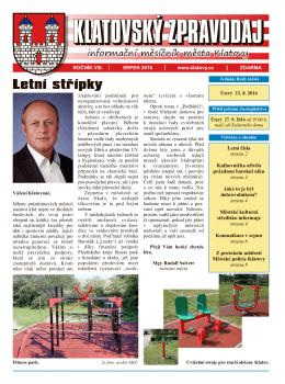 Klatovský zpravodaj 8/2016