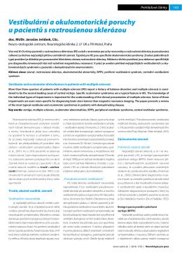 Vestibulární a okulomotorické poruchy u pacientů s
