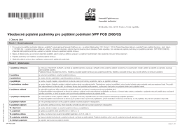 Všeobecné pojistné podmínky pro pojištění podnikání