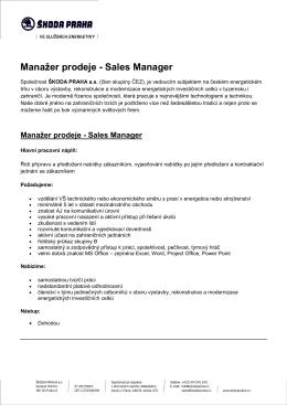 Manažer prodeje - Sales Manager