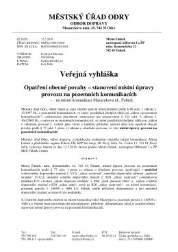 Dopravní značení na MK Masarykova ul. Fulnek
