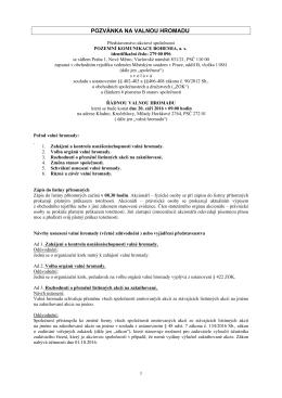 Pozvánka v PDF ke stažení - POZEMNÍ KOMUNIKACE BOHEMIA, as