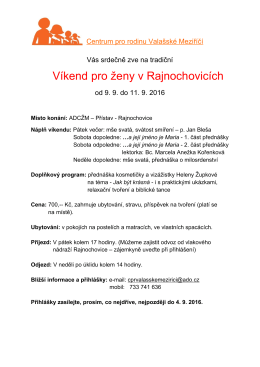 Vikend pro zeny Rajnochovice 2016