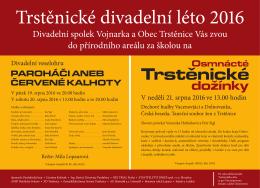 Divadelní spolek Vojnarka a Obec Trstěnice Vás zvou do přírodního