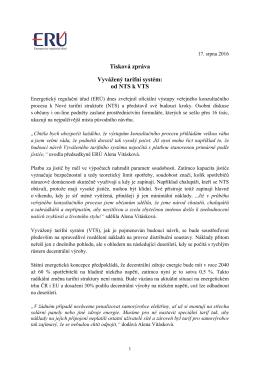 Tisková zpráva Vyvážený tarifní systém: od NTS k VTS