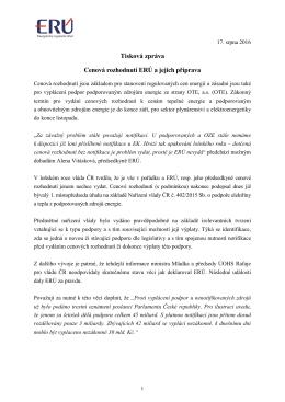 Tisková zpráva Cenová rozhodnutí ERÚ a jejich příprava