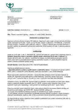 Oznámení o zahájení řízení SR/0040/BE/2016 výjimky