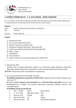 2. schůze výboru ko cz - 7. 6. 2016 praha - zápis z jednání