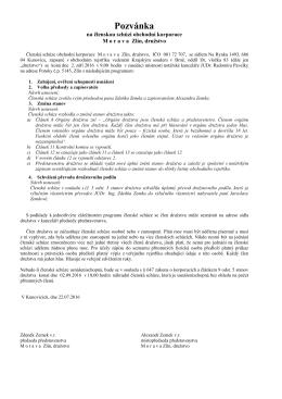 Pozvánka na členskou schůzi obchodní korporace M o r a v a Zlín