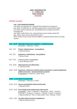 předběžný program - Česká společnost pro hypertenzi