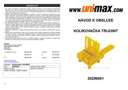 návod k obsluze kolíkovačka trijoint 20296001 - UNi-MAX