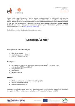 ELI Beamlines - nabídka zaměstnání