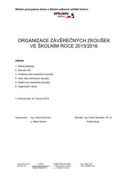organizace závěrečných zkoušek ve školním roce 2015/2016