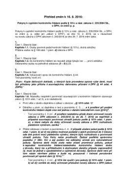 Přehled změn v pokynech k vyplnění kontrolního hlášení ke dni 16
