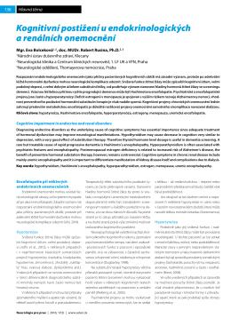 Kognitivní postižení u endokrinologických a renálních
